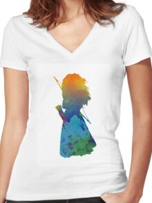 Princess Inspired Silhouette Women's Fitted V-Neck T-Shirt