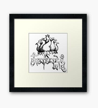 Om Mani Padme Hum original meditation ink drawing Framed Print