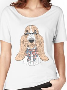 Hipster dog Basset Hound  Women's Relaxed Fit T-Shirt