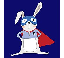 Cute Cartoon Animals Bunny Rabbit Super Hero Photographic Print