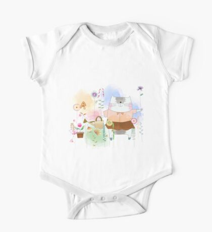 Beautiful Watercolor Cat in Flower Garden  One Piece - Short Sleeve