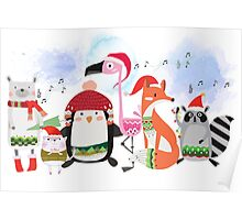 Silly Cartoon Animals Christmas Holiday Poster