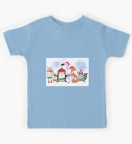 Silly Cartoon Animals Christmas Holiday Kids Tee