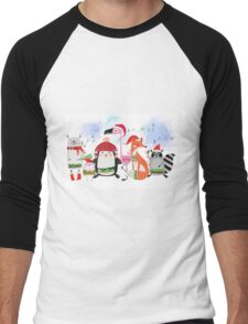 Silly Cartoon Animals Christmas Holiday Men's Baseball ¾ T-Shirt