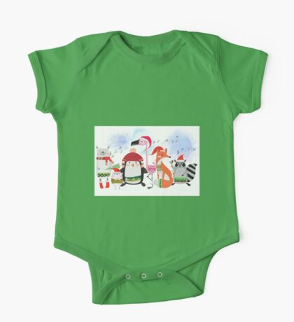 Silly Cartoon Animals Christmas Holiday One Piece - Short Sleeve