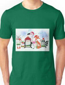 Silly Cartoon Animals Christmas Holiday Unisex T-Shirt