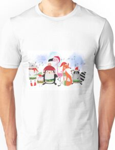 Silly Cartoon Animals Christmas Holiday Unisex T-Shirt
