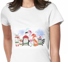Silly Cartoon Animals Christmas Holiday Womens Fitted T-Shirt