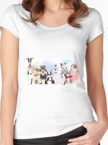 Silly Dogs Cartoon Pets  Women's Fitted Scoop T-Shirt