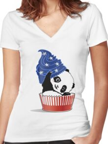 Panda America Cupcake  Women's Fitted V-Neck T-Shirt