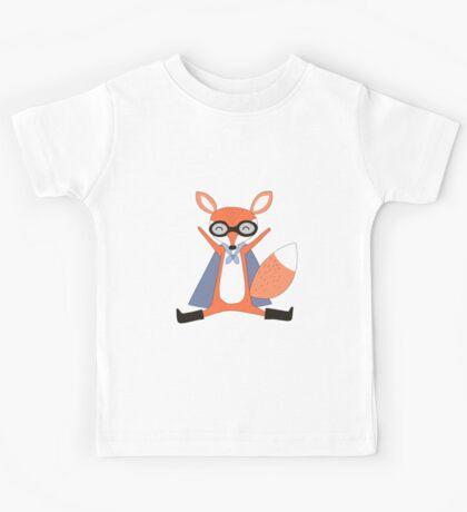 Silly Cartoon Animals Red Fox Superhero Kids Tee