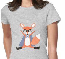 Silly Cartoon Animals Red Fox Superhero Womens Fitted T-Shirt