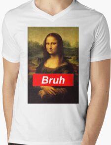 Bruh Mona Lisa Mens V-Neck T-Shirt