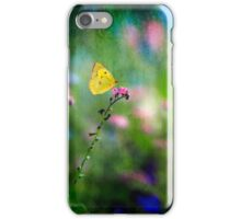 Yellow Butterfly on Pink Blossom iPhone Case/Skin