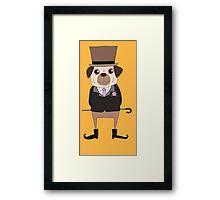 Funny Cartoon Pets Pug Dog Framed Print