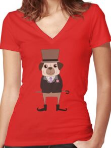 Funny Cartoon Pets Pug Dog Women's Fitted V-Neck T-Shirt