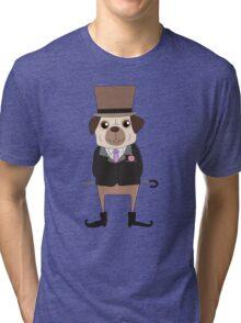 Funny Cartoon Pets Pug Dog Tri-blend T-Shirt