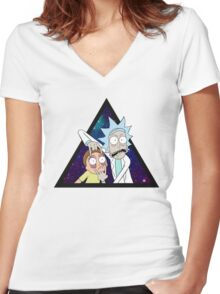 Rick and morty space v7. Women's Fitted V-Neck T-Shirt