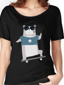 Cute Cartoon Animals Skateboarding Bear Women's Relaxed Fit T-Shirt