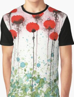Here Today, Gone Tomorrow, Red Watercolor Flowers Graphic T-Shirt