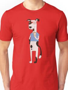 Funny Cartoon Pets Dog With Coffee Unisex T-Shirt
