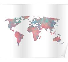 Turquoise and Rose Blush Watercolor Map Poster
