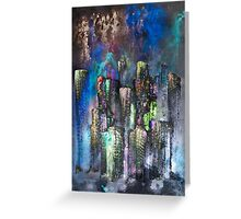 Abstract Urban High Rises in Pigments and Ink Greeting Card