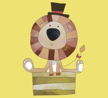 Watercolor Wild Animals Lion in Top Hat One Piece - Short Sleeve