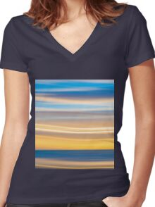 Bright coastal abstract eye-catching wavy pattern Women's Fitted V-Neck T-Shirt