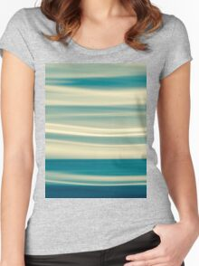 Retro effect coastal abstract wavy clouds over horizon Women's Fitted Scoop T-Shirt