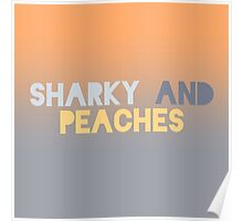 Sharky and Peaches Logo: Peach to Slate Poster