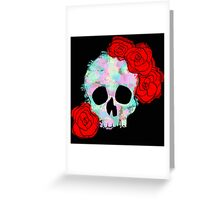 Pastel Skull with Roses Greeting Card
