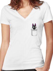 Pocket Jiji Women's Fitted V-Neck T-Shirt