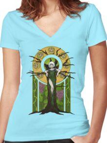 Green Lightning Women's Fitted V-Neck T-Shirt