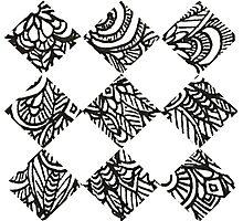 Doodles Tiles Shaped Photographic Print