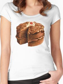 Chocolate Cake Pattern Women's Fitted Scoop T-Shirt