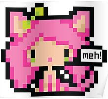 Pixel Art Neko Girl - Pink Poster
