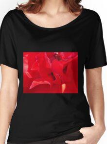 Fire Red Petals Women's Relaxed Fit T-Shirt