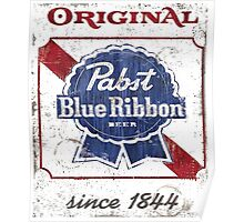 Pabst Blue Ribbon Beer Distressed Poster