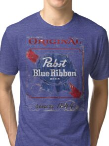 Pabst Blue Ribbon Beer Distressed Tri-blend T-Shirt