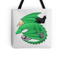 Dragon Cuddling Sleepy Cats Tote Bag