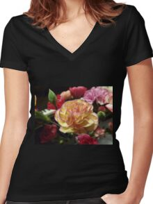 Blushing Petals  Women's Fitted V-Neck T-Shirt