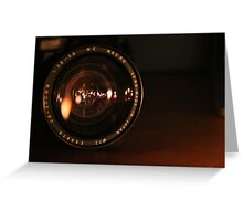 Camera Lens Candle Reflection Greeting Card
