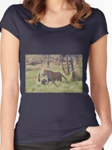 Bengal Tigers Sparring In A Marsh Women's Fitted Scoop T-Shirt