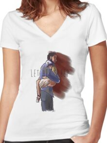 Let Her Sleep Women's Fitted V-Neck T-Shirt