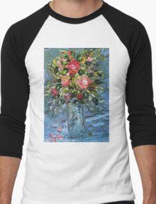 Painting Still Life bouquet of flowers. Men's Baseball ¾ T-Shirt