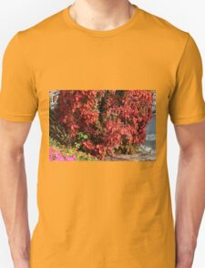 Beautiful colorful bush with red leaves. T-Shirt