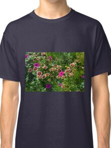 Beautiful colorful flowers in the garden. Classic T-Shirt