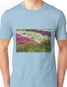 Colorful rows of flowers in the park. Unisex T-Shirt
