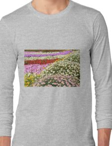 Colorful rows of flowers in the park. Long Sleeve T-Shirt